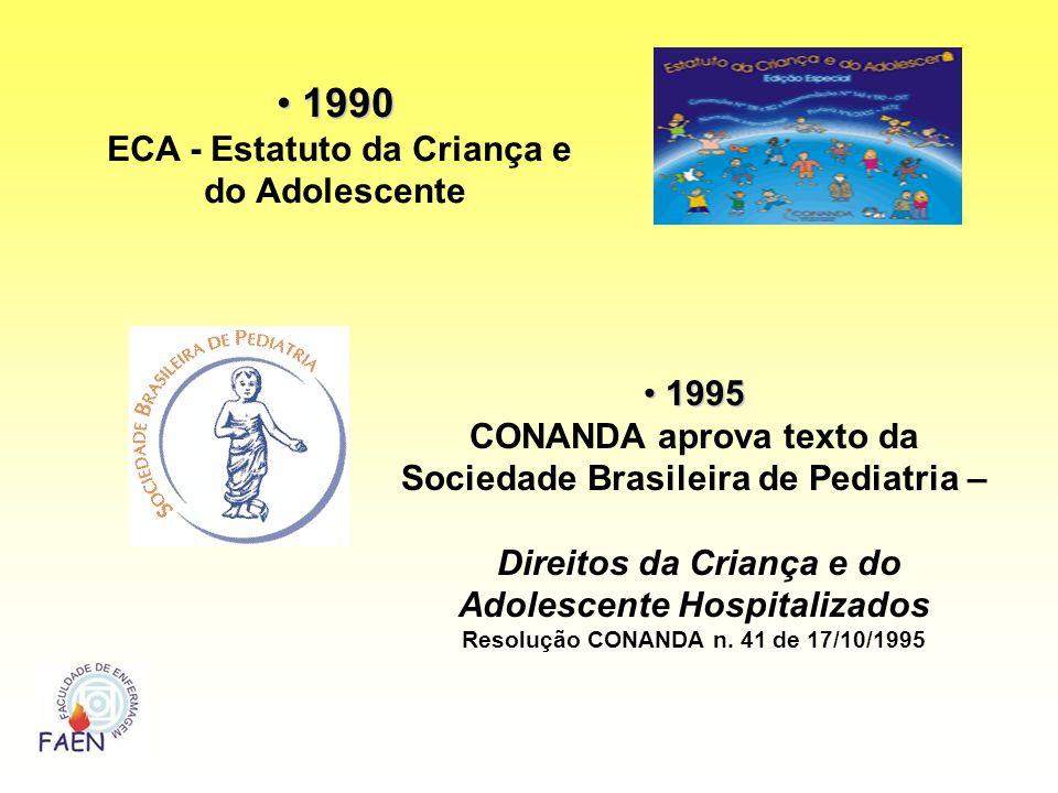 1990 1990 ECA - Estatuto da Criança e do Adolescente 1995 1995 CONANDA aprova texto da Sociedade Brasileira de Pediatria – Direitos da Criança e do Ad