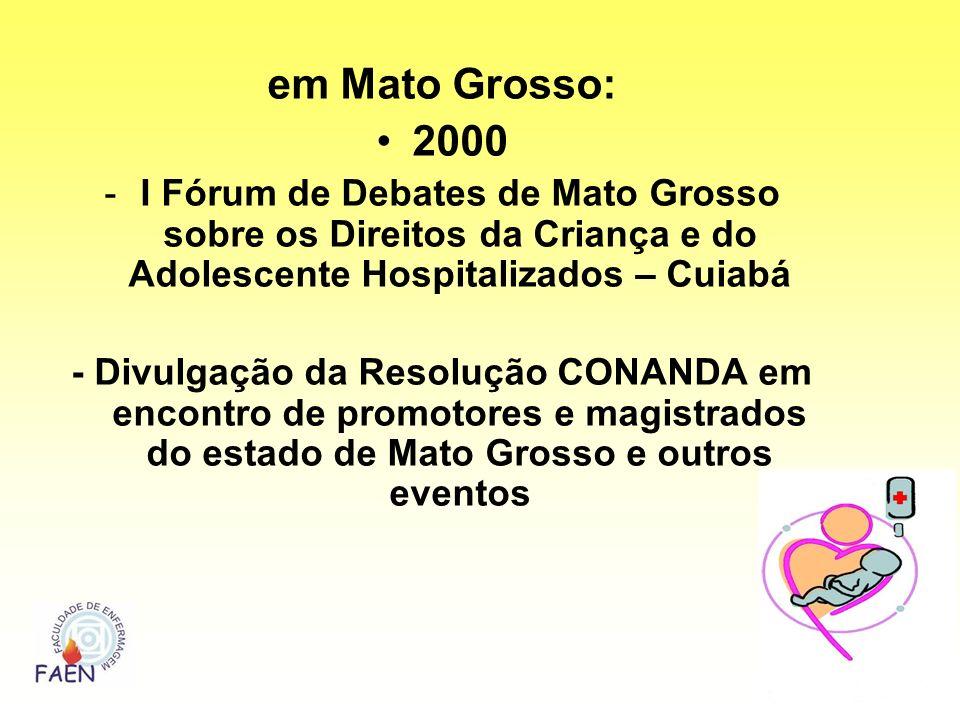 em Mato Grosso: 2000 -I Fórum de Debates de Mato Grosso sobre os Direitos da Criança e do Adolescente Hospitalizados – Cuiabá - Divulgação da Resoluçã