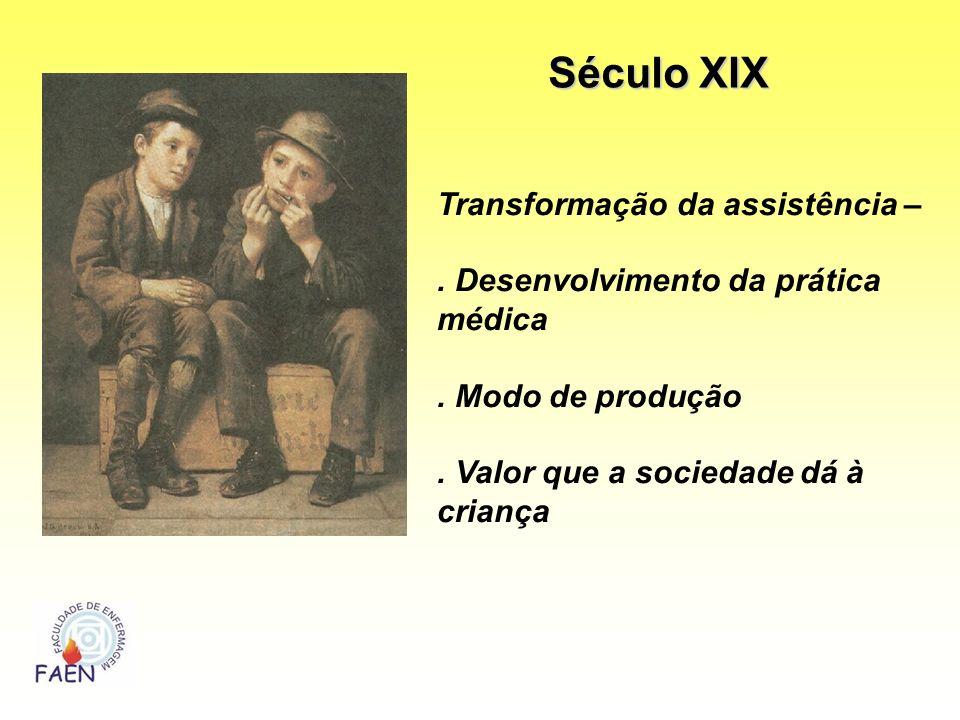 Transformação da assistência –. Desenvolvimento da prática médica. Modo de produção. Valor que a sociedade dá à criança Século XIX