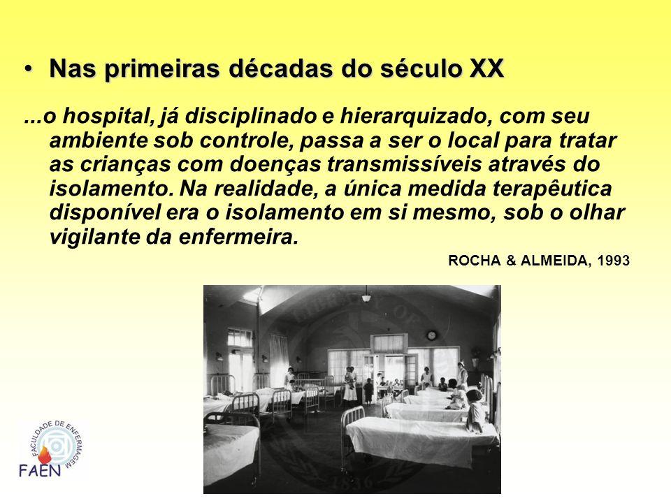 Nas primeiras décadas do século XXNas primeiras décadas do século XX...o hospital, já disciplinado e hierarquizado, com seu ambiente sob controle, pas