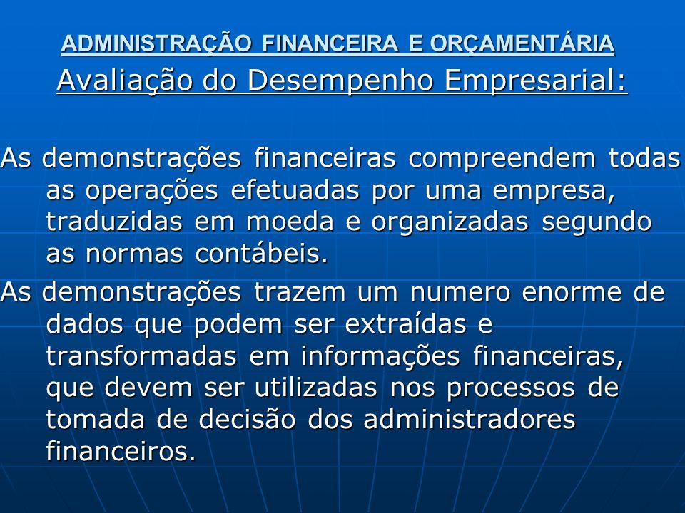 ADMINISTRAÇÃO FINANCEIRA E ORÇAMENTÁRIA Avaliação do Desempenho Empresarial: As demonstrações financeiras compreendem todas as operações efetuadas por uma empresa, traduzidas em moeda e organizadas segundo as normas contábeis.