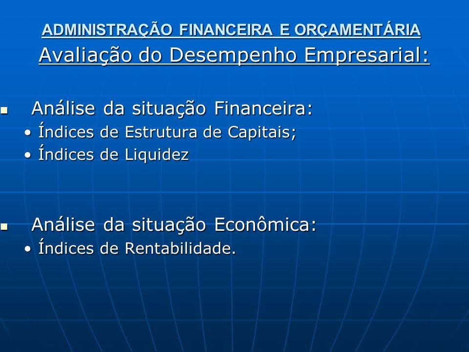 ADMINISTRAÇÃO FINANCEIRA E ORÇAMENTÁRIA Avaliação do Desempenho Empresarial: Análise da situação Financeira: Análise da situação Financeira: Índices de Estrutura de Capitais;Índices de Estrutura de Capitais; Índices de LiquidezÍndices de Liquidez Análise da situação Econômica: Análise da situação Econômica: Índices de Rentabilidade.Índices de Rentabilidade.