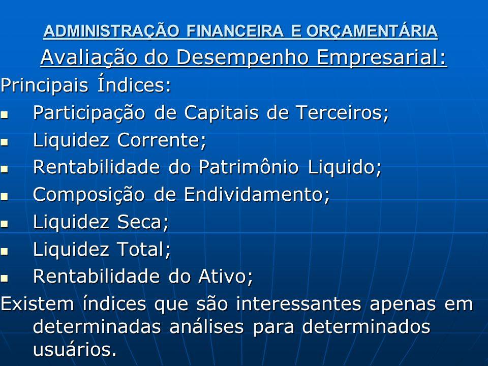 ADMINISTRAÇÃO FINANCEIRA E ORÇAMENTÁRIA Avaliação do Desempenho Empresarial: Principais Índices: Participação de Capitais de Terceiros; Participação de Capitais de Terceiros; Liquidez Corrente; Liquidez Corrente; Rentabilidade do Patrimônio Liquido; Rentabilidade do Patrimônio Liquido; Composição de Endividamento; Composição de Endividamento; Liquidez Seca; Liquidez Seca; Liquidez Total; Liquidez Total; Rentabilidade do Ativo; Rentabilidade do Ativo; Existem índices que são interessantes apenas em determinadas análises para determinados usuários.