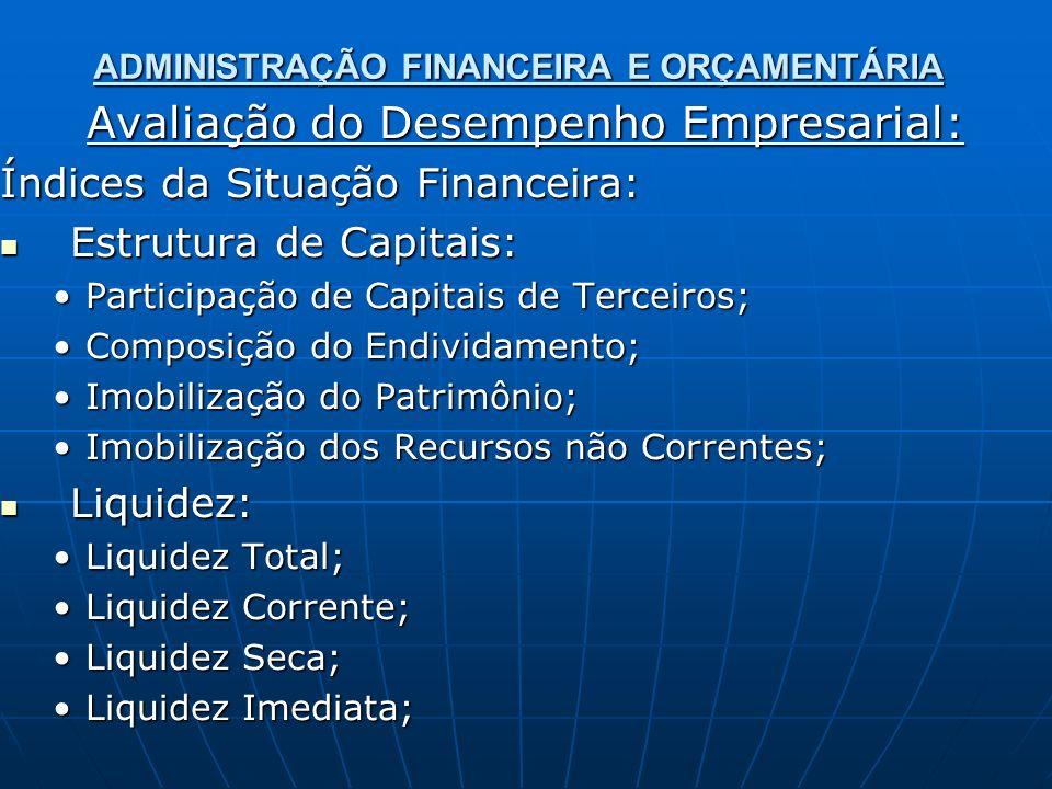ADMINISTRAÇÃO FINANCEIRA E ORÇAMENTÁRIA Avaliação do Desempenho Empresarial: Índices da Situação Financeira: Estrutura de Capitais: Estrutura de Capitais: Participação de Capitais de Terceiros;Participação de Capitais de Terceiros; Composição do Endividamento;Composição do Endividamento; Imobilização do Patrimônio;Imobilização do Patrimônio; Imobilização dos Recursos não Correntes;Imobilização dos Recursos não Correntes; Liquidez: Liquidez: Liquidez Total;Liquidez Total; Liquidez Corrente;Liquidez Corrente; Liquidez Seca;Liquidez Seca; Liquidez Imediata;Liquidez Imediata;