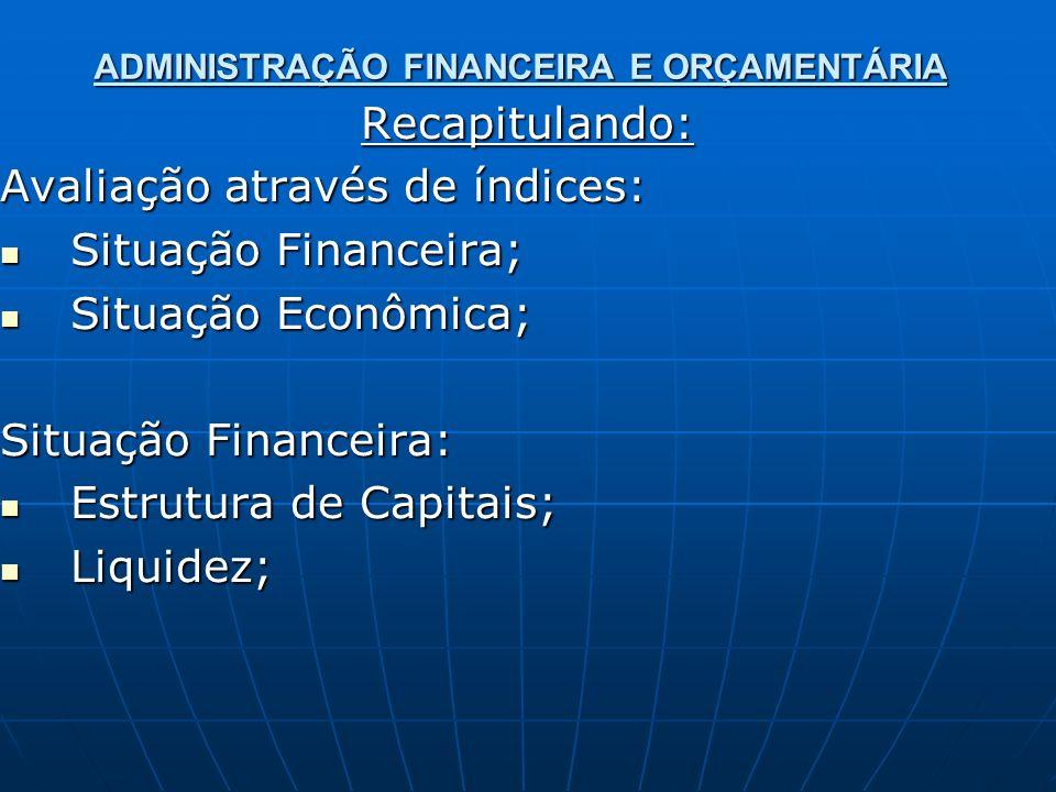 ADMINISTRAÇÃO FINANCEIRA E ORÇAMENTÁRIA Recapitulando: Avaliação através de índices: Situação Financeira; Situação Financeira; Situação Econômica; Situação Econômica; Situação Financeira: Estrutura de Capitais; Estrutura de Capitais; Liquidez; Liquidez;