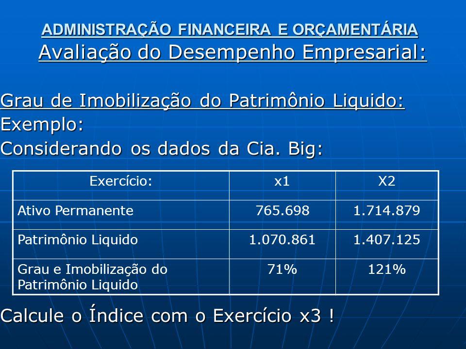ADMINISTRAÇÃO FINANCEIRA E ORÇAMENTÁRIA Avaliação do Desempenho Empresarial: Grau de Imobilização do Patrimônio Liquido: Exemplo: Considerando os dados da Cia.