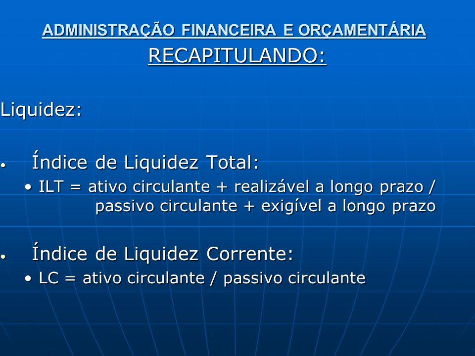 ADMINISTRAÇÃO FINANCEIRA E ORÇAMENTÁRIA RECAPITULANDO:Liquidez: Índice de Liquidez Total: Índice de Liquidez Total: ILT = ativo circulante + realizável a longo prazo / passivo circulante + exigível a longo prazoILT = ativo circulante + realizável a longo prazo / passivo circulante + exigível a longo prazo Índice de Liquidez Corrente: Índice de Liquidez Corrente: LC = ativo circulante / passivo circulanteLC = ativo circulante / passivo circulante