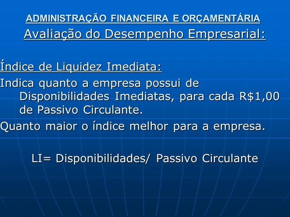 ADMINISTRAÇÃO FINANCEIRA E ORÇAMENTÁRIA Avaliação do Desempenho Empresarial: Índice de Liquidez Imediata: Indica quanto a empresa possui de Disponibilidades Imediatas, para cada R$1,00 de Passivo Circulante.