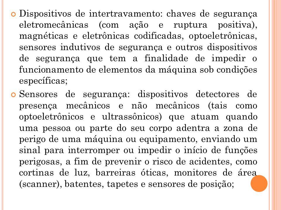 Dispositivos de intertravamento: chaves de segurança eletromecânicas (com ação e ruptura positiva), magnéticas e eletrônicas codificadas, optoeletrôni