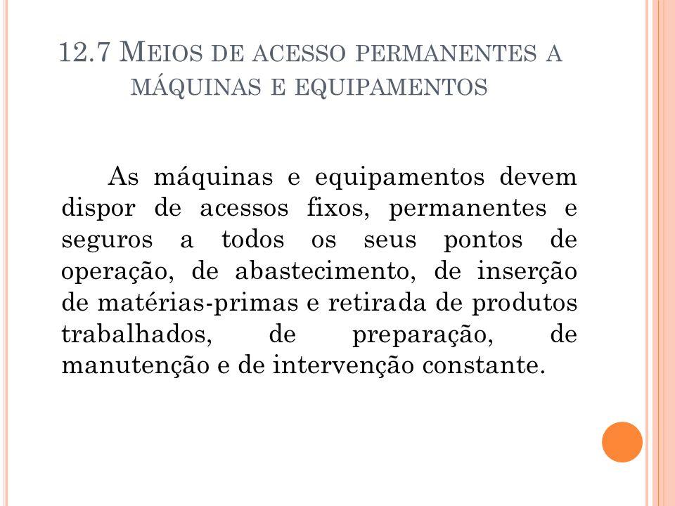 12.7 M EIOS DE ACESSO PERMANENTES A MÁQUINAS E EQUIPAMENTOS As máquinas e equipamentos devem dispor de acessos fixos, permanentes e seguros a todos os