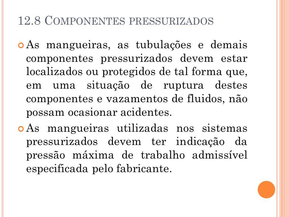 12.8 C OMPONENTES PRESSURIZADOS As mangueiras, as tubulações e demais componentes pressurizados devem estar localizados ou protegidos de tal forma que