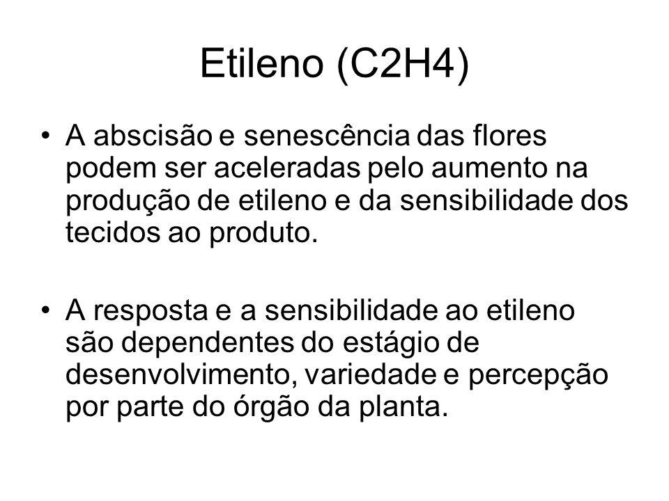 Etileno (C2H4) A abscisão e senescência das flores podem ser aceleradas pelo aumento na produção de etileno e da sensibilidade dos tecidos ao produto.