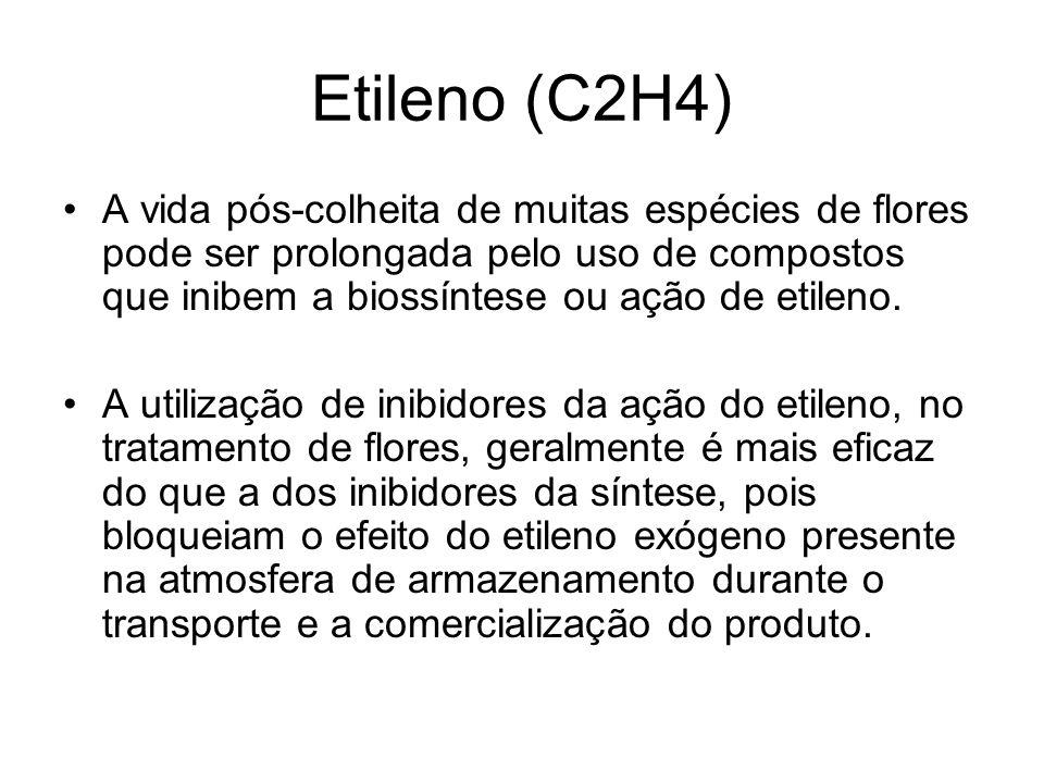 Etileno (C2H4) A vida pós-colheita de muitas espécies de flores pode ser prolongada pelo uso de compostos que inibem a biossíntese ou ação de etileno.