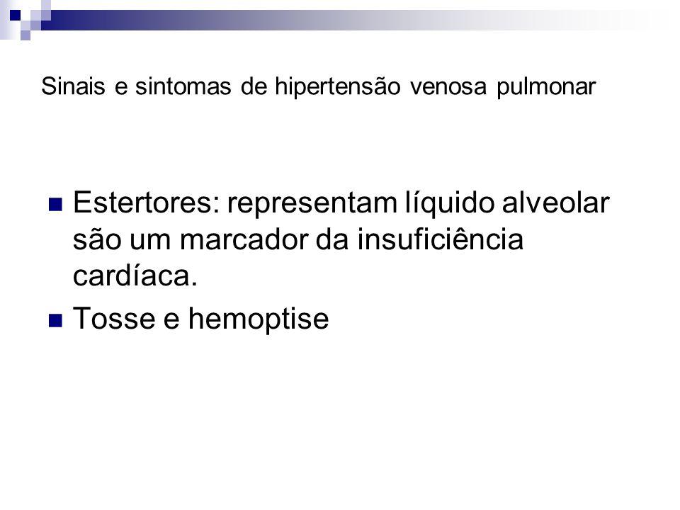 Sinais e sintomas de hipertensão venosa pulmonar Estertores: representam líquido alveolar são um marcador da insuficiência cardíaca. Tosse e hemoptise