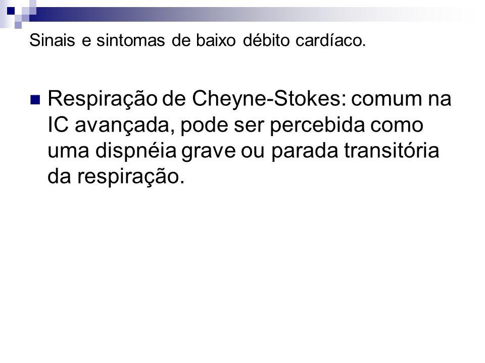 Sinais e sintomas de baixo débito cardíaco. Respiração de Cheyne-Stokes: comum na IC avançada, pode ser percebida como uma dispnéia grave ou parada tr