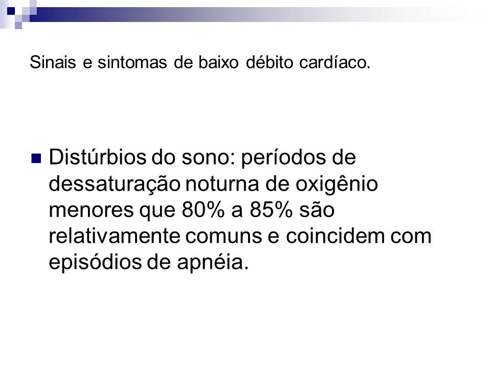 Sinais e sintomas de baixo débito cardíaco. Distúrbios do sono: períodos de dessaturação noturna de oxigênio menores que 80% a 85% são relativamente c