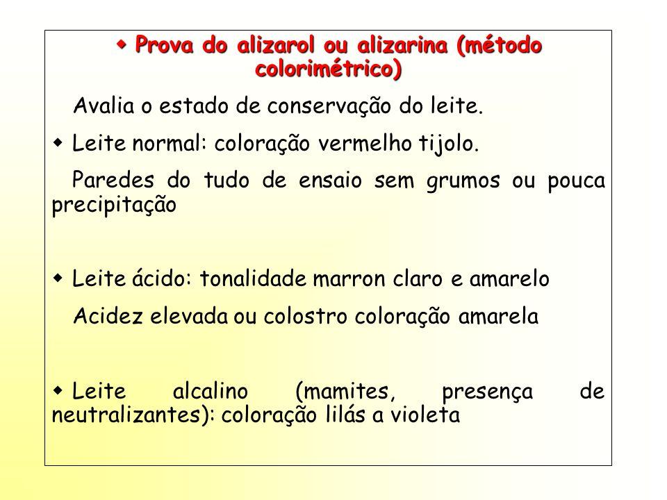 Prova do alizarol ou alizarina (método colorimétrico) Prova do alizarol ou alizarina (método colorimétrico) Avalia o estado de conservação do leite. L
