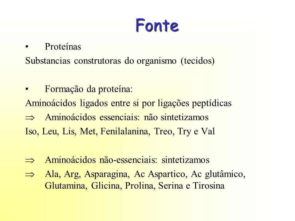 Fonte Proteínas Substancias construtoras do organismo (tecidos) Formação da proteína: Aminoácidos ligados entre si por ligações peptídicas Aminoácidos