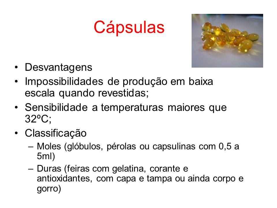 Cápsulas Desvantagens Impossibilidades de produção em baixa escala quando revestidas; Sensibilidade a temperaturas maiores que 32ºC; Classificação –Mo