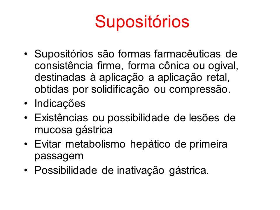 Supositórios Supositórios são formas farmacêuticas de consistência firme, forma cônica ou ogival, destinadas à aplicação a aplicação retal, obtidas po