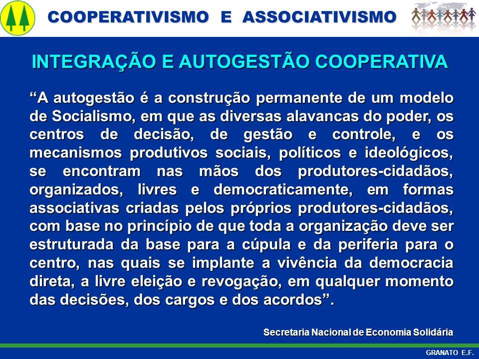 COOPERATIVISMO E ASSOCIATIVISMO COOPERATIVISMO E ASSOCIATIVISMO GRANATO E.F. A autogestão é a construção permanente de um modelo de Socialismo, em que