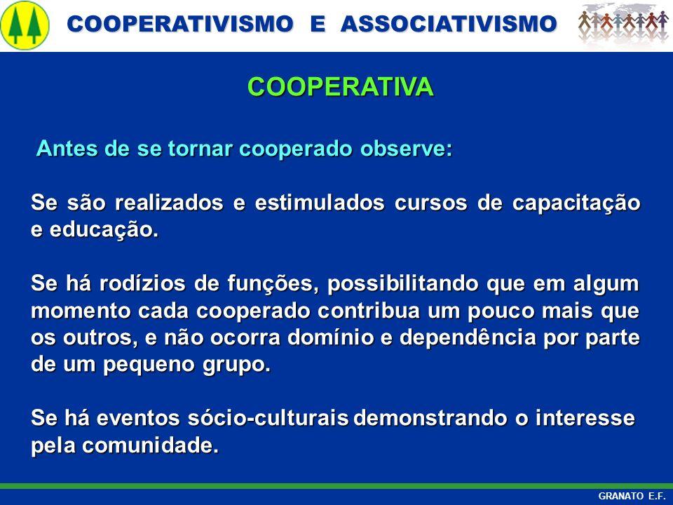 COOPERATIVISMO E ASSOCIATIVISMO COOPERATIVISMO E ASSOCIATIVISMO GRANATO E.F. Antes de se tornar cooperado observe: Antes de se tornar cooperado observ