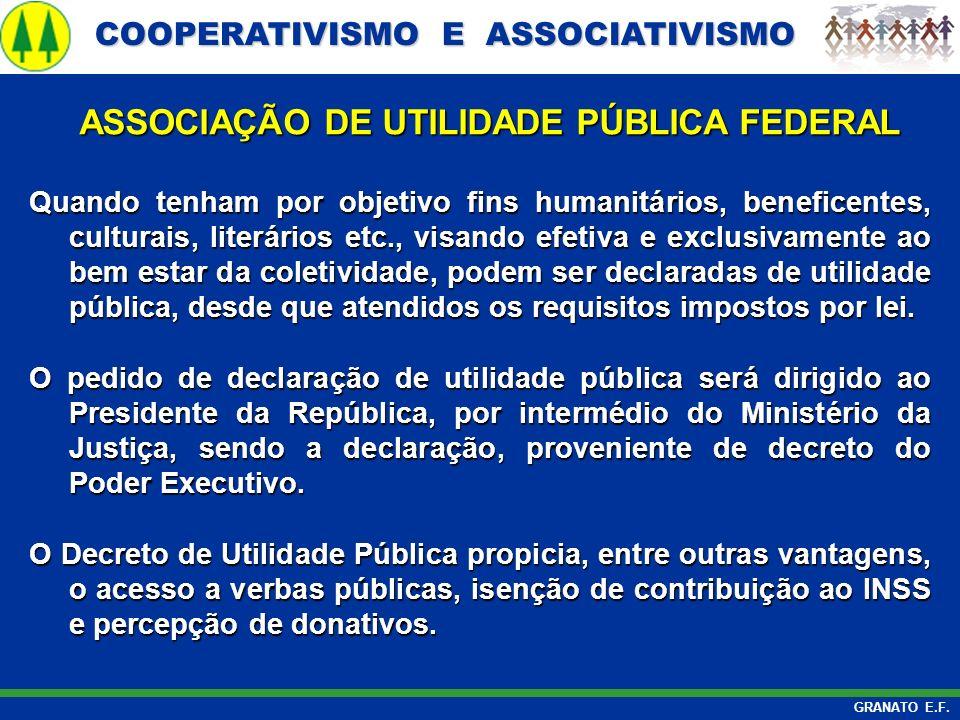 COOPERATIVISMO E ASSOCIATIVISMO COOPERATIVISMO E ASSOCIATIVISMO GRANATO E.F. ASSOCIAÇÃO DE UTILIDADE PÚBLICA FEDERAL ASSOCIAÇÃO DE UTILIDADE PÚBLICA F