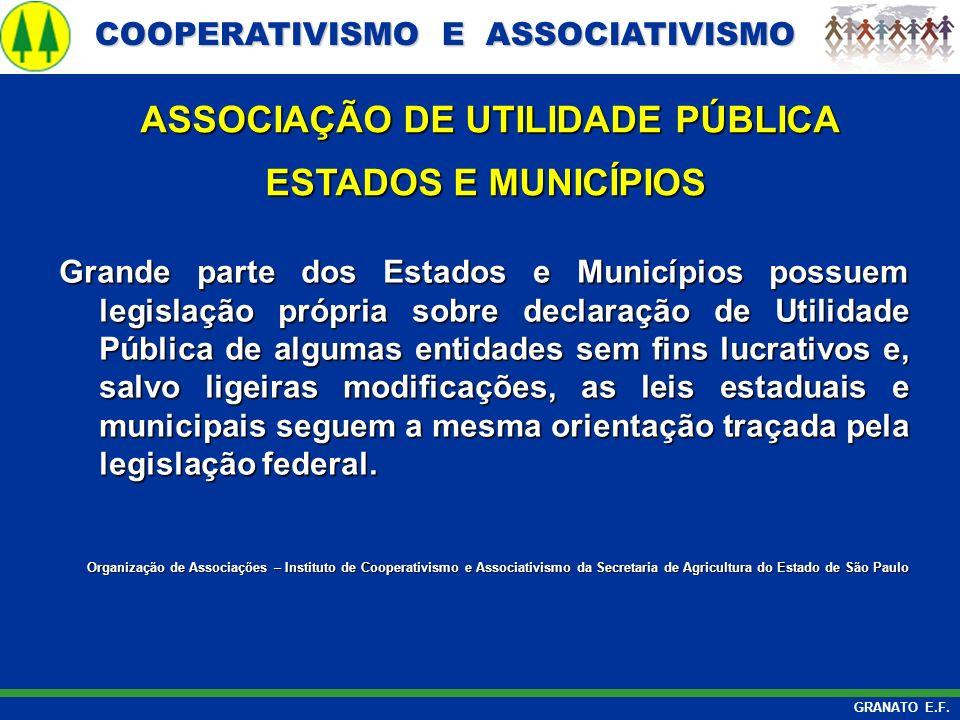 COOPERATIVISMO E ASSOCIATIVISMO COOPERATIVISMO E ASSOCIATIVISMO GRANATO E.F. ASSOCIAÇÃO DE UTILIDADE PÚBLICA ASSOCIAÇÃO DE UTILIDADE PÚBLICA ESTADOS E