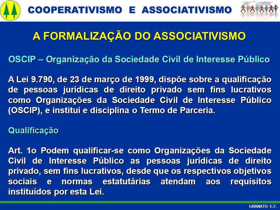 COOPERATIVISMO E ASSOCIATIVISMO COOPERATIVISMO E ASSOCIATIVISMO GRANATO E.F. A FORMALIZAÇÃO DO ASSOCIATIVISMO OSCIP – Organização da Sociedade Civil d