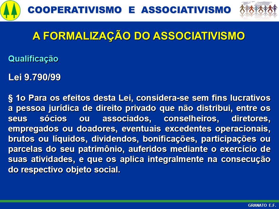 COOPERATIVISMO E ASSOCIATIVISMO COOPERATIVISMO E ASSOCIATIVISMO GRANATO E.F. A FORMALIZAÇÃO DO ASSOCIATIVISMO Qualificação Lei 9.790/99 § 1o Para os e