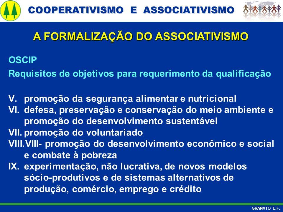 COOPERATIVISMO E ASSOCIATIVISMO COOPERATIVISMO E ASSOCIATIVISMO GRANATO E.F. A FORMALIZAÇÃO DO ASSOCIATIVISMO OSCIP Requisitos de objetivos para reque