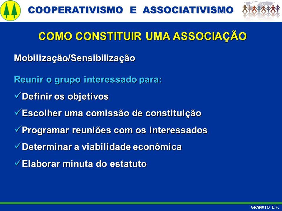 COOPERATIVISMO E ASSOCIATIVISMO COOPERATIVISMO E ASSOCIATIVISMO GRANATO E.F. Mobilização/Sensibilização Reunir o grupo interessado para: Definir os ob