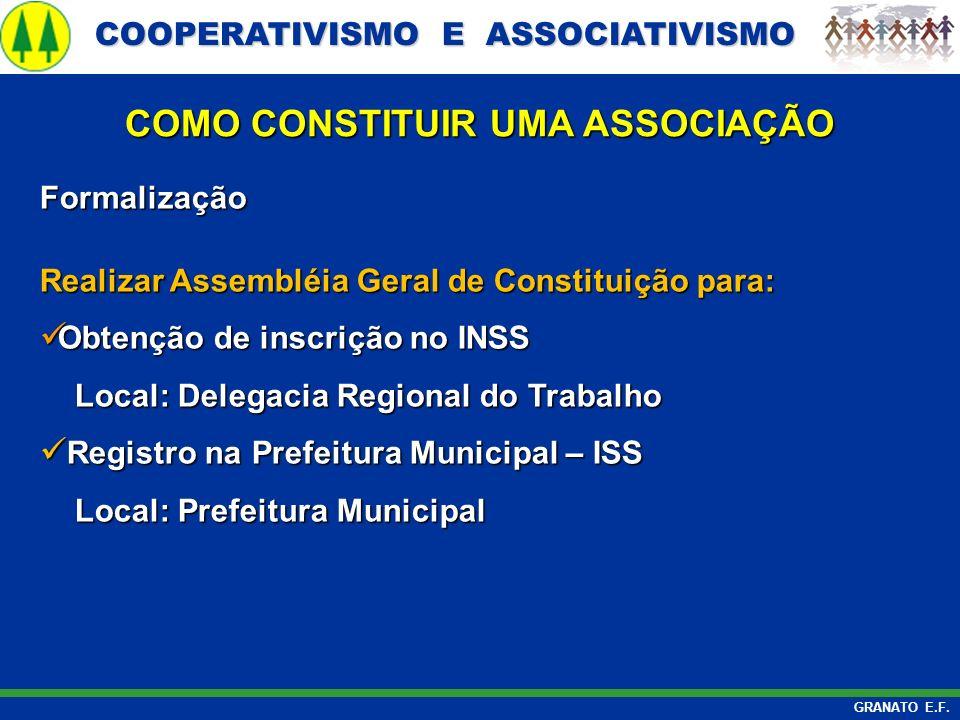 COOPERATIVISMO E ASSOCIATIVISMO COOPERATIVISMO E ASSOCIATIVISMO GRANATO E.F. Formalização Realizar Assembléia Geral de Constituição para: Obtenção de