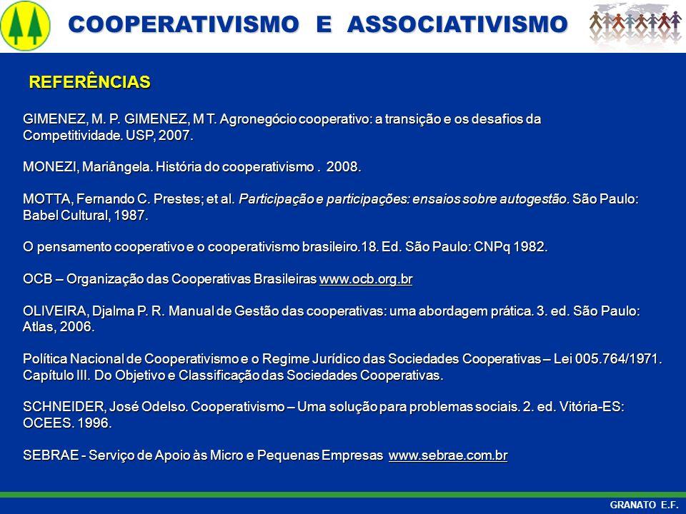 COOPERATIVISMO E ASSOCIATIVISMO COOPERATIVISMO E ASSOCIATIVISMO GRANATO E.F. GIMENEZ, M. P. GIMENEZ, M T. Agronegócio cooperativo: a transição e os de