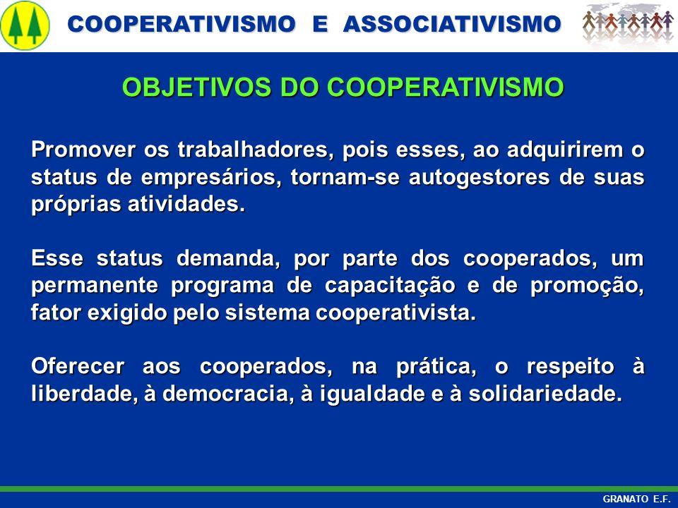 COOPERATIVISMO E ASSOCIATIVISMO COOPERATIVISMO E ASSOCIATIVISMO GRANATO E.F. Promover os trabalhadores, pois esses, ao adquirirem o status de empresár
