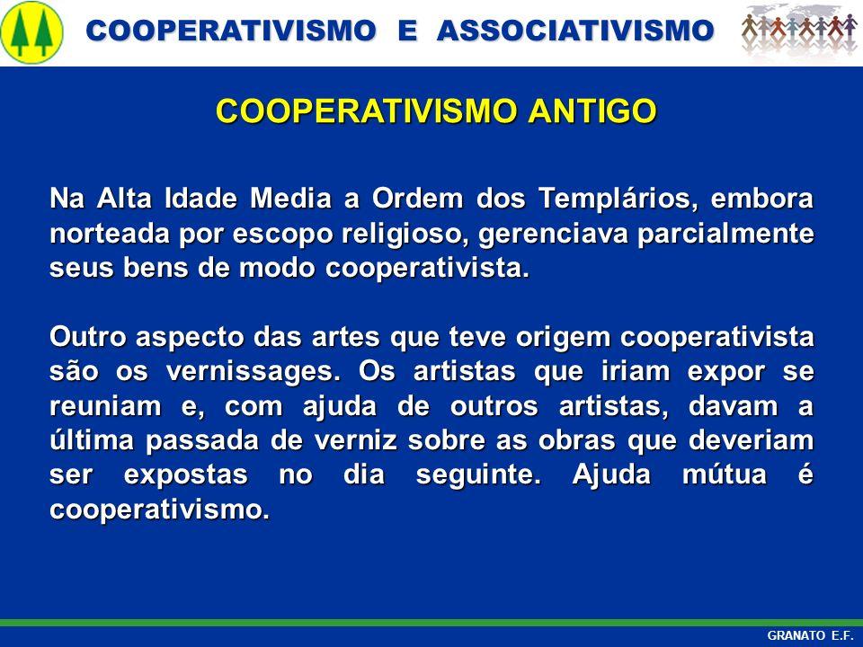 COOPERATIVISMO E ASSOCIATIVISMO COOPERATIVISMO E ASSOCIATIVISMO GRANATO E.F. Na Alta Idade Media a Ordem dos Templários, embora norteada por escopo re