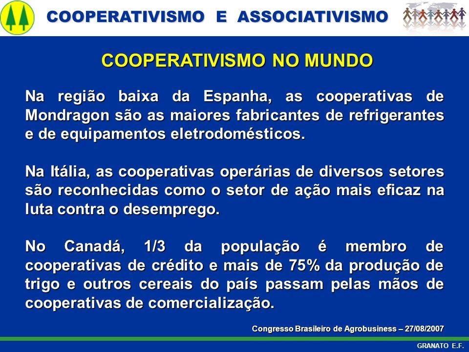 COOPERATIVISMO E ASSOCIATIVISMO COOPERATIVISMO E ASSOCIATIVISMO GRANATO E.F. Na região baixa da Espanha, as cooperativas de Mondragon são as maiores f