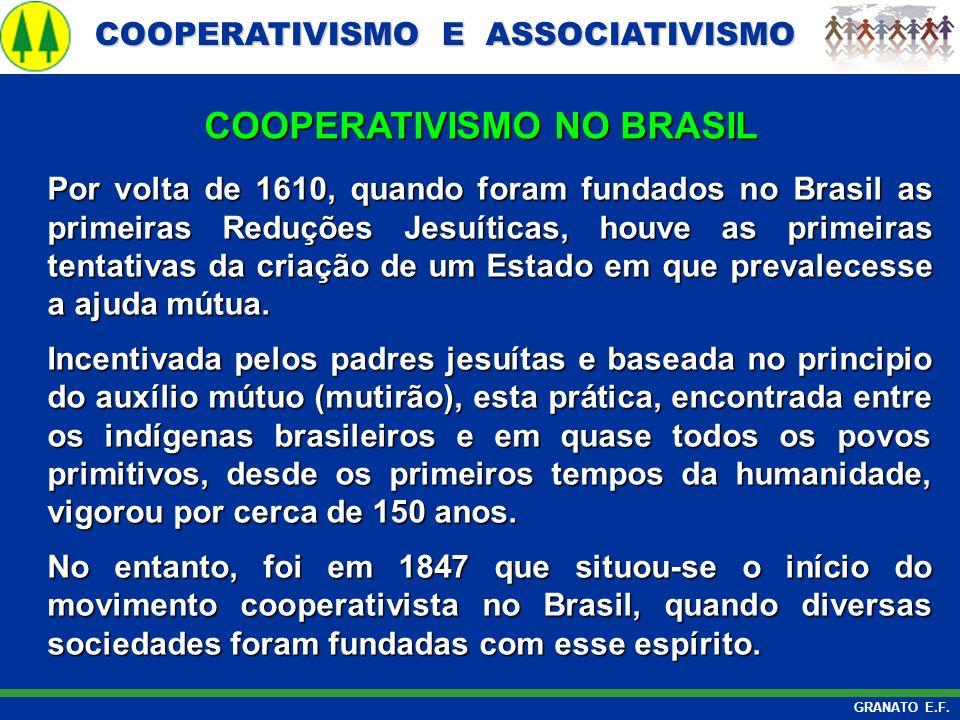 COOPERATIVISMO E ASSOCIATIVISMO COOPERATIVISMO E ASSOCIATIVISMO GRANATO E.F. Por volta de 1610, quando foram fundados no Brasil as primeiras Reduções