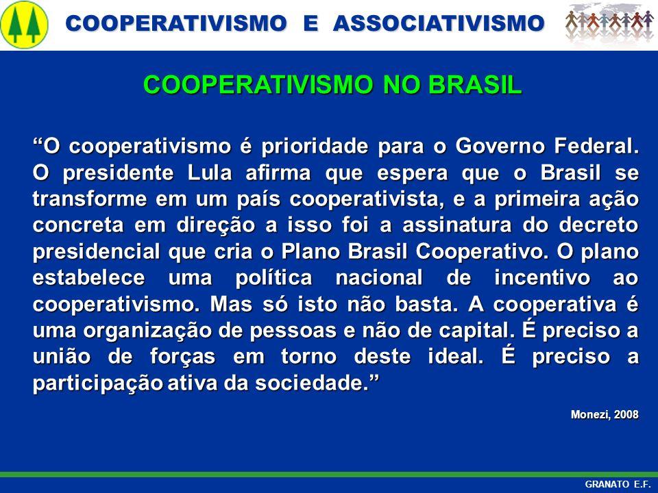 COOPERATIVISMO E ASSOCIATIVISMO COOPERATIVISMO E ASSOCIATIVISMO GRANATO E.F. O cooperativismo é prioridade para o Governo Federal. O presidente Lula a