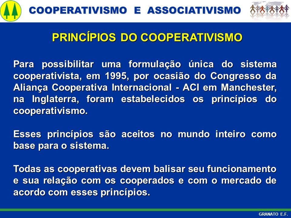 COOPERATIVISMO E ASSOCIATIVISMO COOPERATIVISMO E ASSOCIATIVISMO GRANATO E.F. Para possibilitar uma formulação única do sistema cooperativista, em 1995
