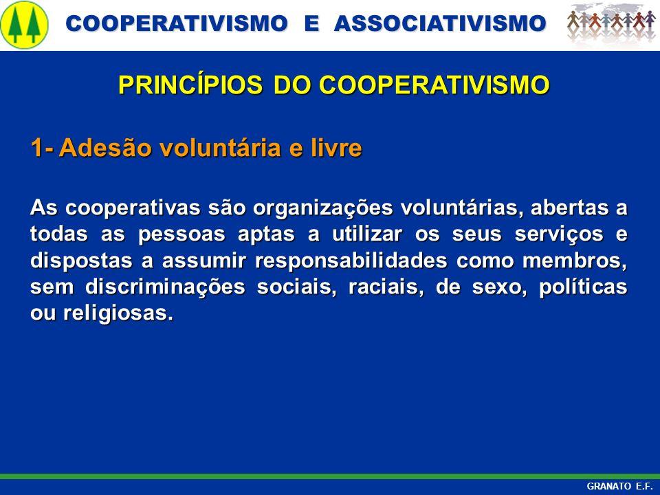 COOPERATIVISMO E ASSOCIATIVISMO COOPERATIVISMO E ASSOCIATIVISMO GRANATO E.F. 1- Adesão voluntária e livre As cooperativas são organizações voluntárias