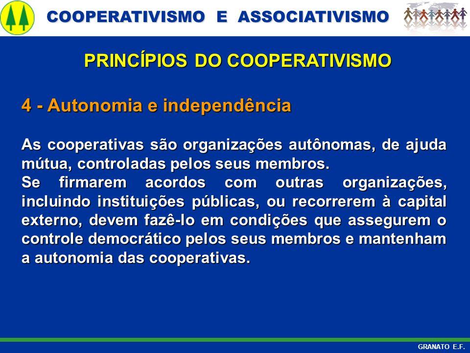 COOPERATIVISMO E ASSOCIATIVISMO COOPERATIVISMO E ASSOCIATIVISMO GRANATO E.F. 4 - Autonomia e independência As cooperativas são organizações autônomas,