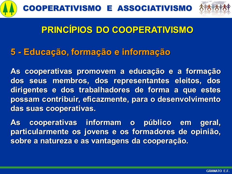 COOPERATIVISMO E ASSOCIATIVISMO COOPERATIVISMO E ASSOCIATIVISMO GRANATO E.F. 5 - Educação, formação e informação As cooperativas promovem a educação e