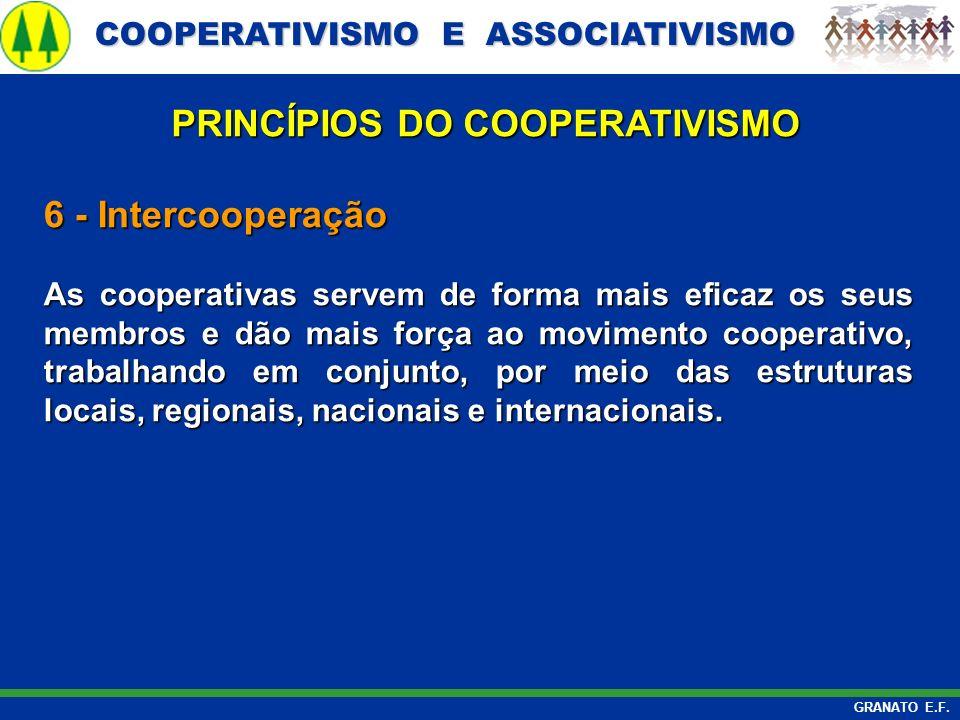 COOPERATIVISMO E ASSOCIATIVISMO COOPERATIVISMO E ASSOCIATIVISMO GRANATO E.F. 6 - Intercooperação As cooperativas servem de forma mais eficaz os seus m