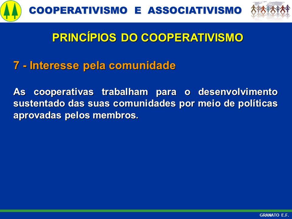 COOPERATIVISMO E ASSOCIATIVISMO COOPERATIVISMO E ASSOCIATIVISMO GRANATO E.F. 7 - Interesse pela comunidade As cooperativas trabalham para o desenvolvi
