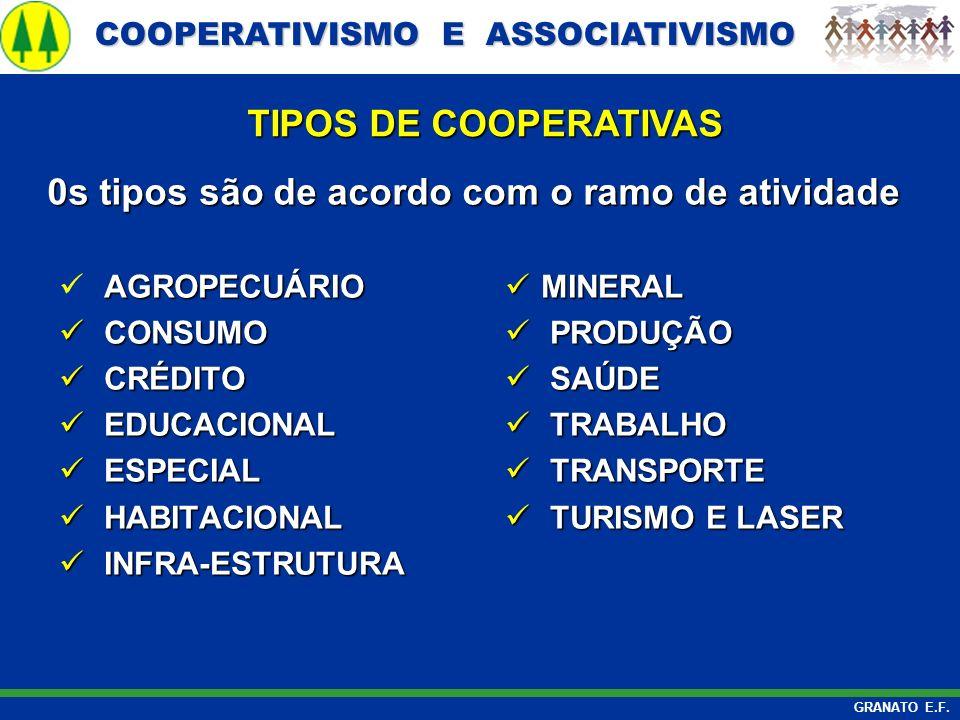 COOPERATIVISMO E ASSOCIATIVISMO COOPERATIVISMO E ASSOCIATIVISMO GRANATO E.F. 0s tipos são de acordo com o ramo de atividade TIPOS DE COOPERATIVAS AGRO