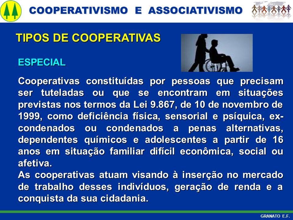 COOPERATIVISMO E ASSOCIATIVISMO COOPERATIVISMO E ASSOCIATIVISMO GRANATO E.F. ESPECIAL Cooperativas constituídas por pessoas que precisam ser tuteladas