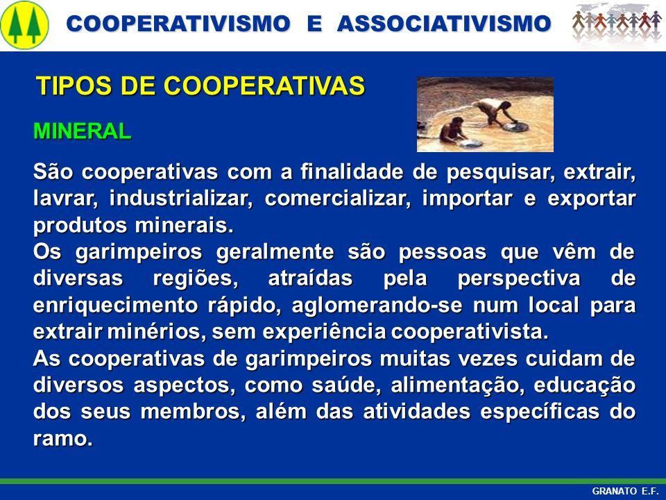 COOPERATIVISMO E ASSOCIATIVISMO COOPERATIVISMO E ASSOCIATIVISMO GRANATO E.F. MINERAL São cooperativas com a finalidade de pesquisar, extrair, lavrar,