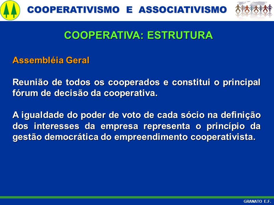 COOPERATIVISMO E ASSOCIATIVISMO COOPERATIVISMO E ASSOCIATIVISMO GRANATO E.F. Assembléia Geral Reunião de todos os cooperados e constitui o principal f