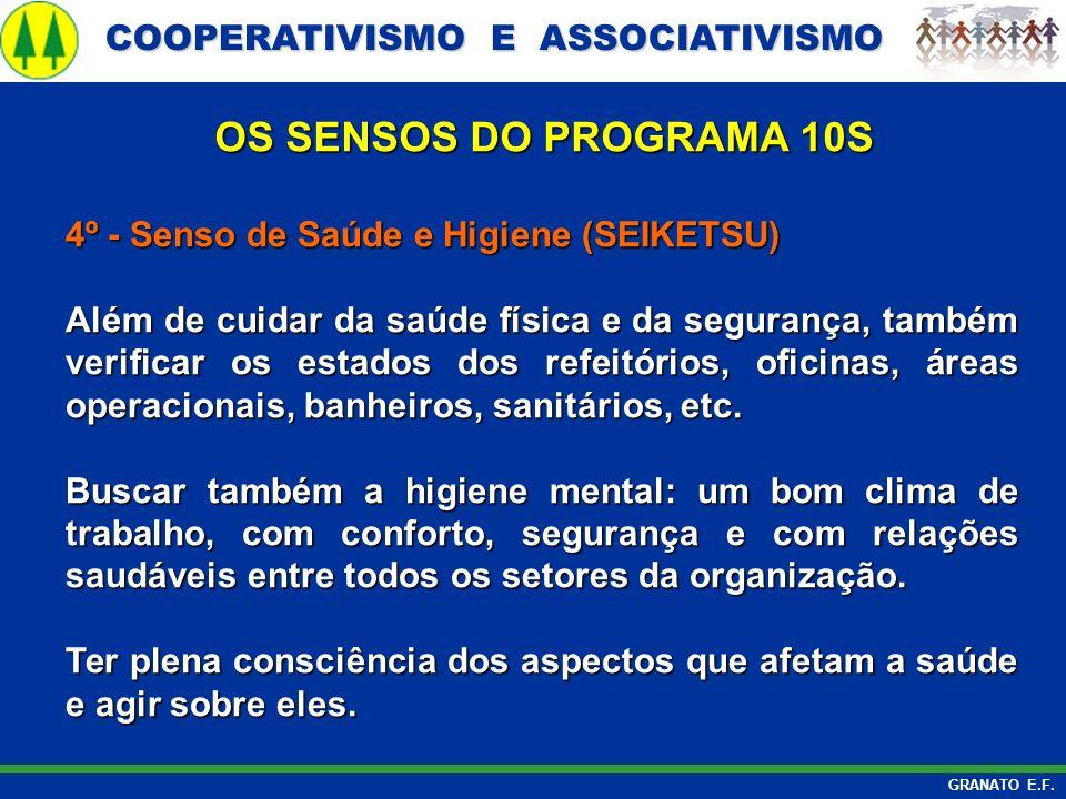 COOPERATIVISMO E ASSOCIATIVISMO COOPERATIVISMO E ASSOCIATIVISMO GRANATO E.F. 4º - Senso de Saúde e Higiene (SEIKETSU) Além de cuidar da saúde física e